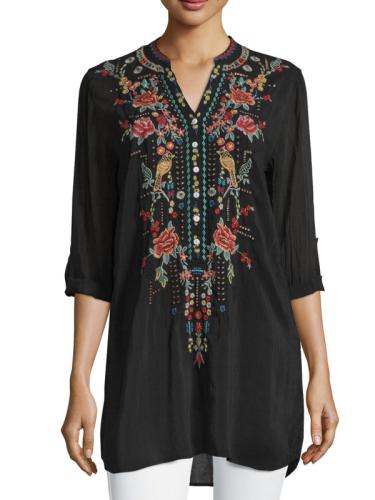 Long Sleeve V Neck Cotton-Blend Shirts & Tops