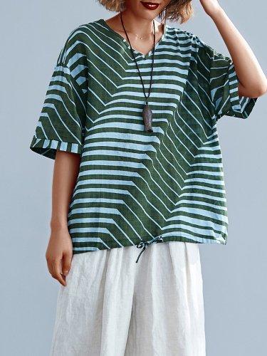 Vintage Striped Floral Loose Short Sleeve V Neck Casual Tops