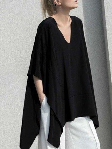 Cotton Batwing Plus Size Blouses & Shirt