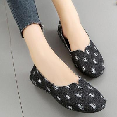 Ripped Denim Casual Slip On Loafers