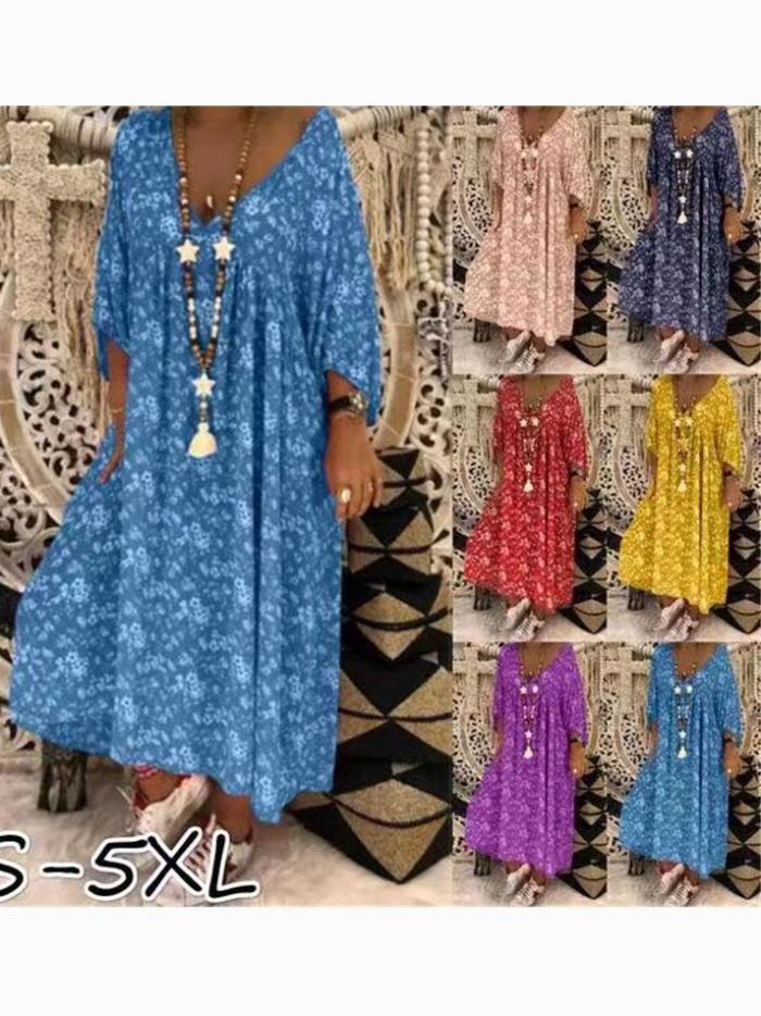 Half Sleeve Casual Floral Dresses