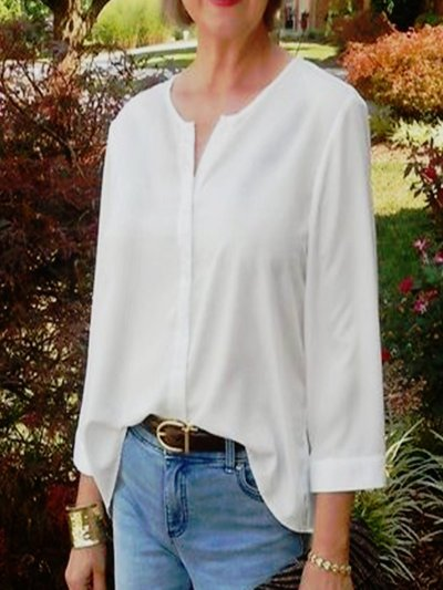 White Casual Crew Neck Shirts & Tops