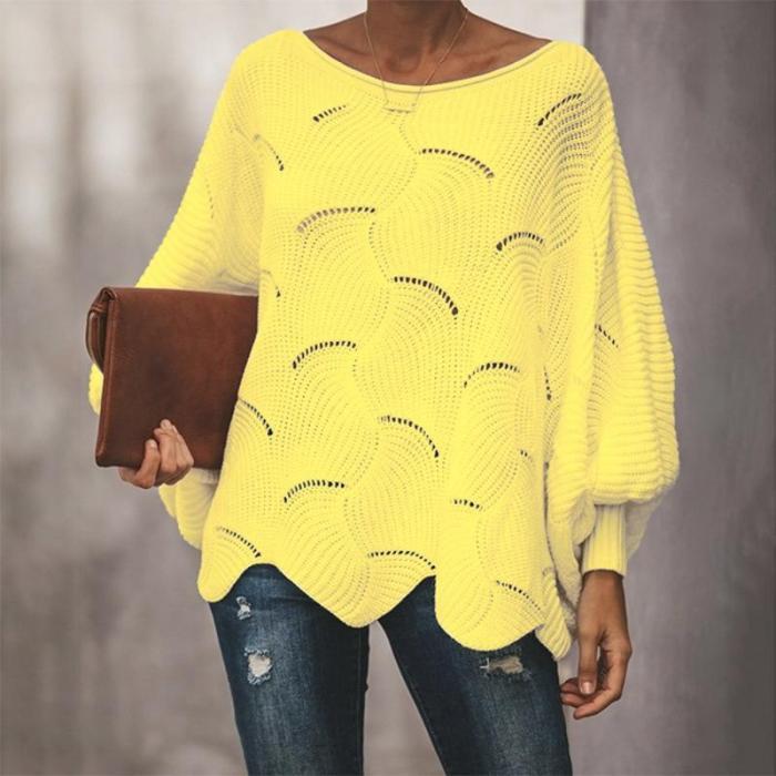 Sweater Pullover Women's Pullover Bat Sleeve Loose Hollow Sweater Hollow Out sweater women knit sweater women