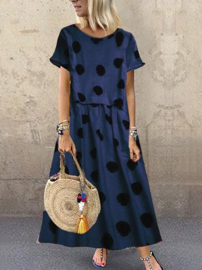 Color-Block Short Sleeve Dresses