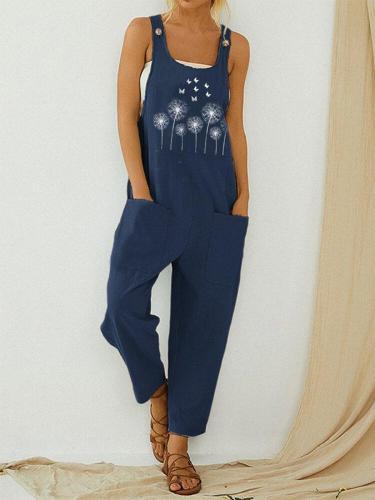 Women's Floral Print Strappy Jumpsuit