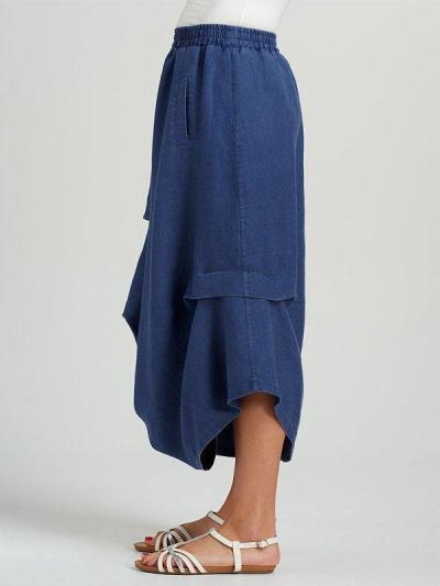 Casual Plus Size Solid Skirt With Pockets