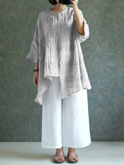 Casual Solid Half Sleeve Crew Neck Blouse