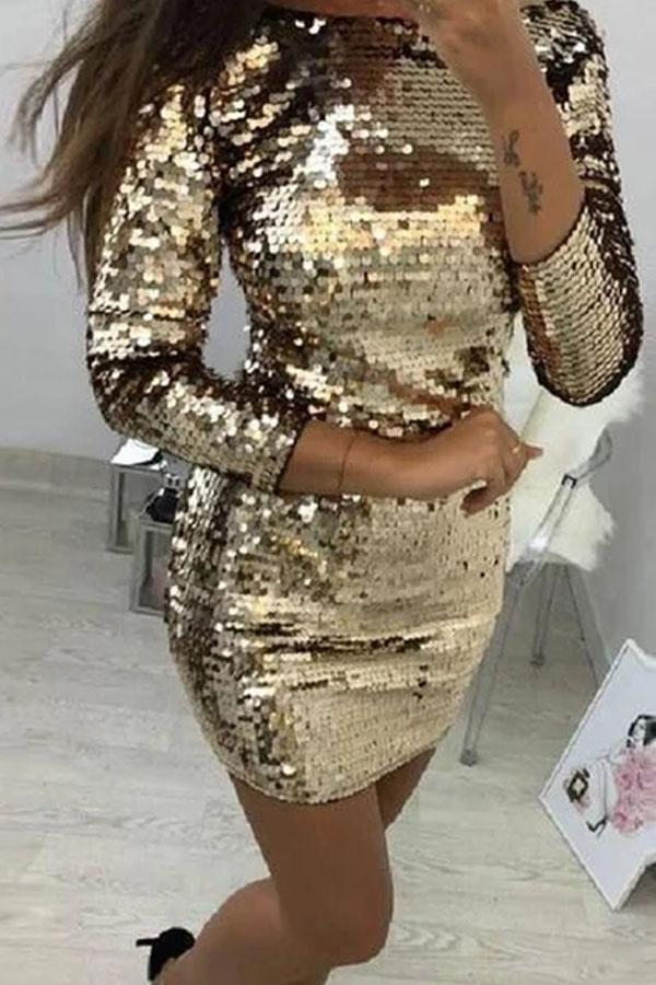 Casual Sequins   Sparkling Crystal Mini Bodycon Dresses