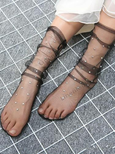 Polka Dot Fashion Women's Socks Star Mesh Stocking