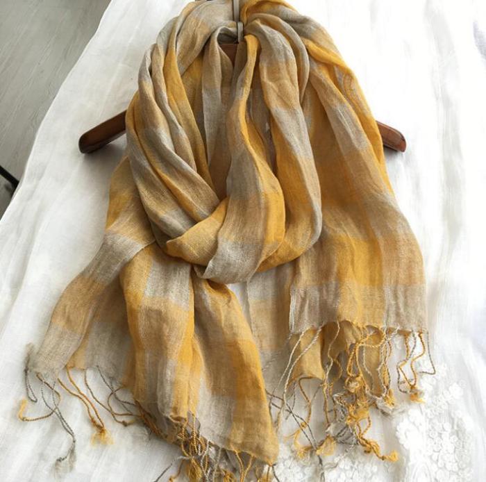 100% Linen Plaid Contrast Tassels Linen Men/Women Yellow Scarves Woman Spring Scarf Pashmina Shawls Wraps Head Scarf bandanas