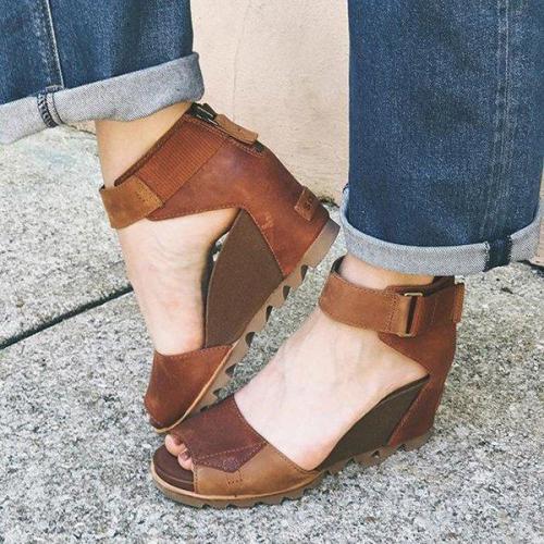 Women Peep Toe Back Zipper Wedges Non-slip Sandals