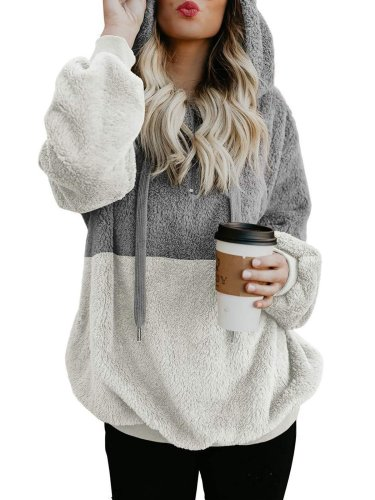 Women Fluffy Sherpa Coat Teddy Bear Rope Hoodies