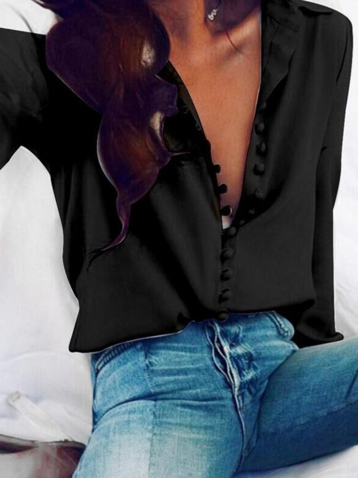 Long Sleeve Buttoned Shirt Collar Solid Shirts