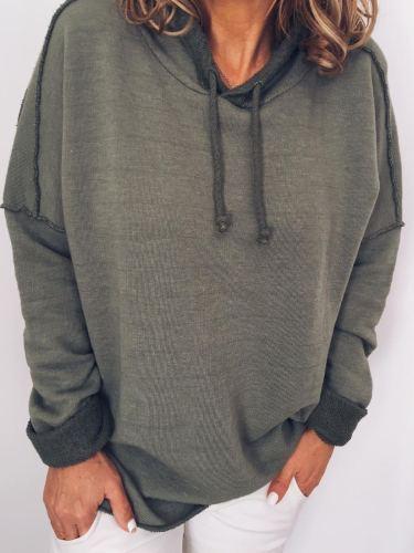 Plus Size Casual Long Sleeve Hoodie Tops