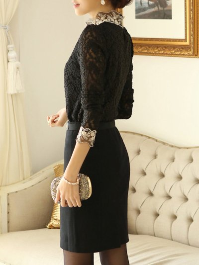 Lace Beaded Embroidered Long Sleeve Elegant Blouse
