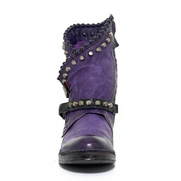 Women  Vintage and Comfortable Boots With Buckle