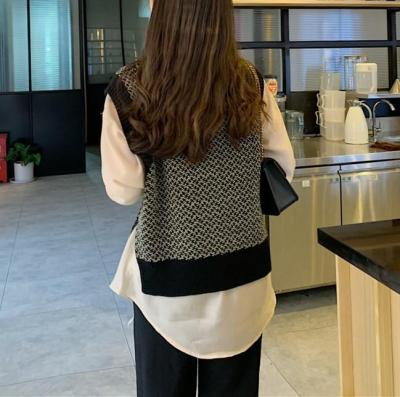 Casual Loose V Neck Knitted Sweater Vest