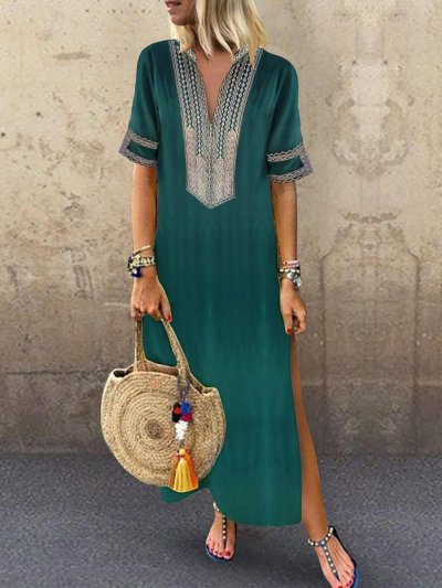 Women Daily Statement Half Sleeve Slit Solid Summer Dress