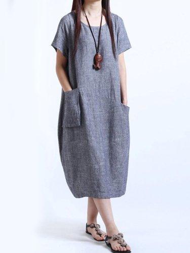 Round Neck  Patch Pocket  Plain  Cotton/Linen Maxi Plus Size Dress