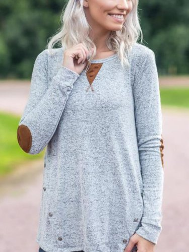 Solid Color Button Casual Round Neck T-shirt