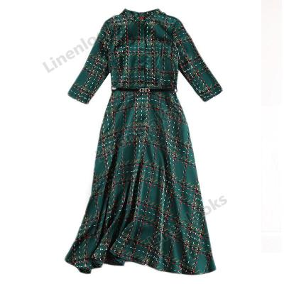 Women's Spring 2020 New Stylish Plaid Long Dresses