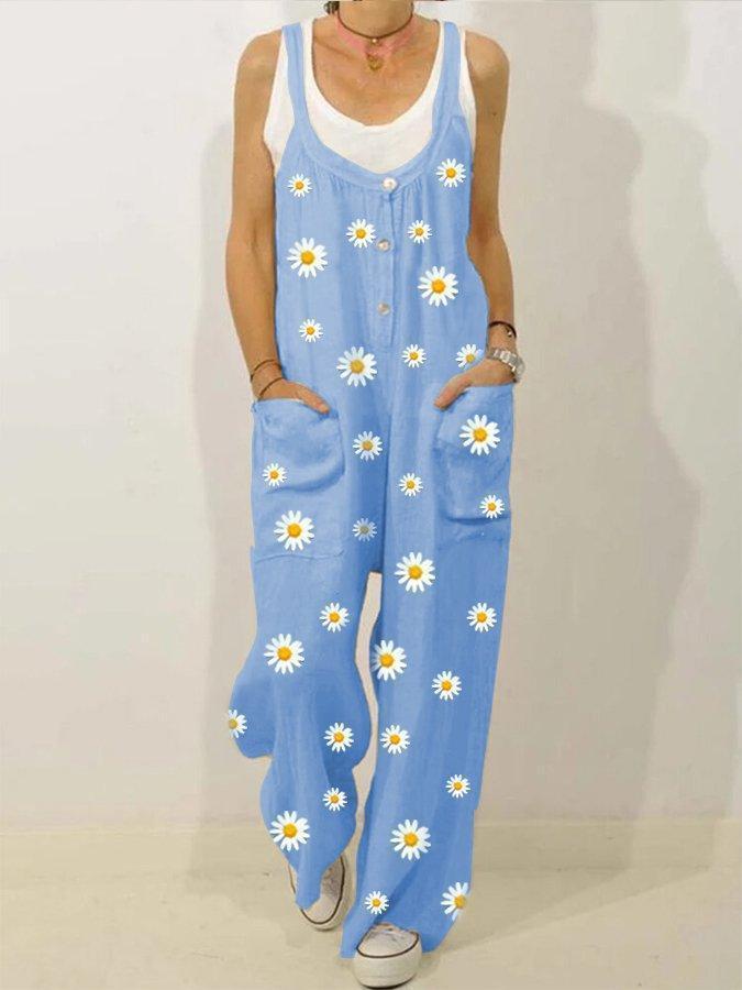 Beige Spaghetti-Strap Daisy Printed Jumpsuits
