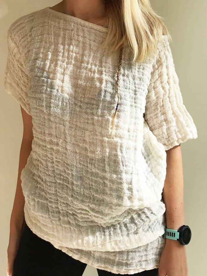 Cream Casual Linen Plain Shirts & Tops