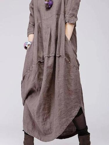 Plus size linen retro women's clothing