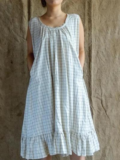 Plus Size Casual Checkered/plaid Cotton-Blend Dresses