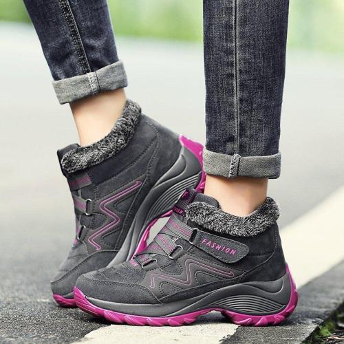 Women Warm Plush Wedge Sneakers Booties Female Waterproof Ankle Boots