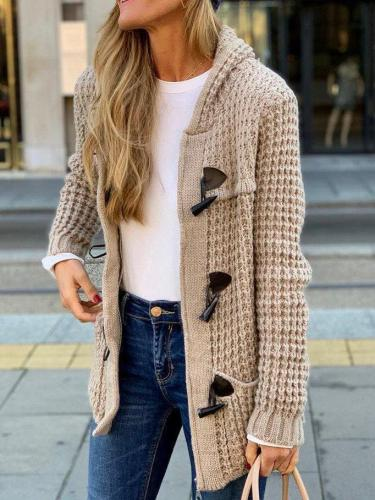 Casual Solid Cotton-Blend Outerwear