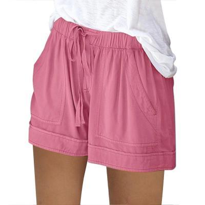 2020 Women Shorts Comfy Drawstring Splice Casual Elastic Waist Pocketed Loose Short