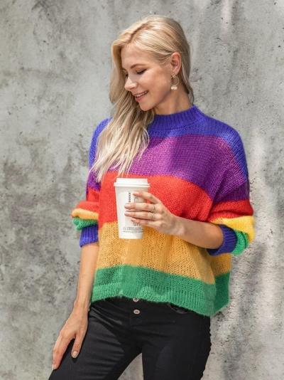 Multicolor Sweet Knitted Ombre/tie-Dye Sweater