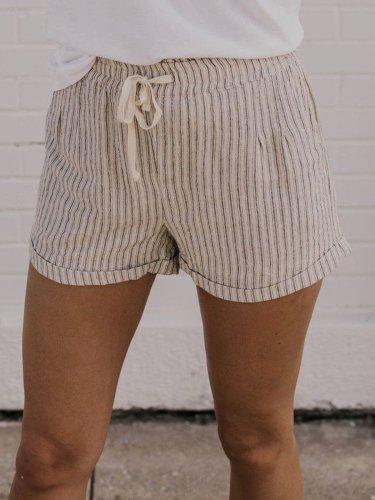 White Striped Casual Cotton Pants