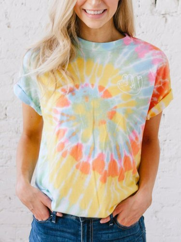 Plus Size Women Short Sleeve Round Neck Tie Dyeing Floral Casual Tops