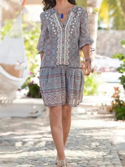 Gray Blue Floral Cotton-Blend Printed Holiday Dresses