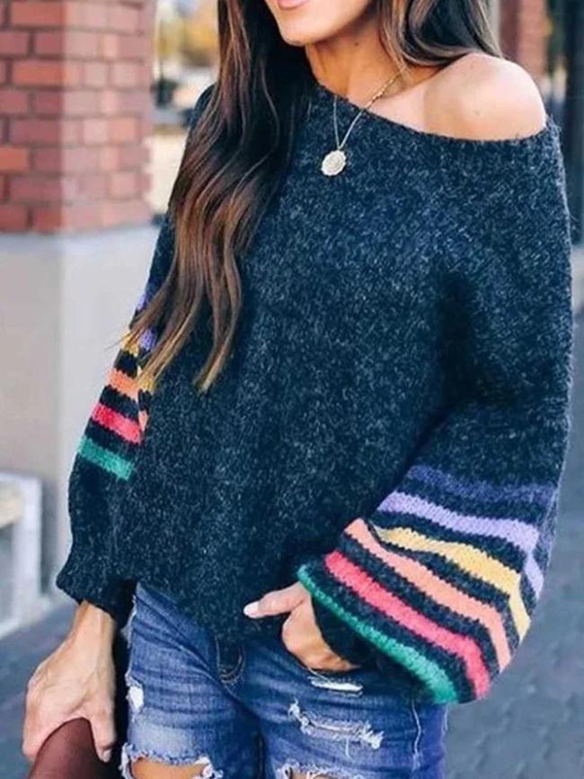 Navy Blue Color-Block Casual Patchwork Off Shoulder Sweater