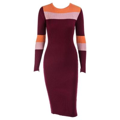 Casual Striped Long Sleeved Round Neck Sweater Dress