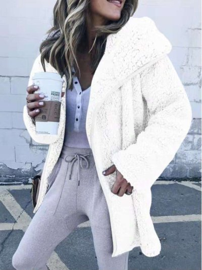 Women Faux Fur Long Sleeve Winter Snow Cardigans With Hoodie