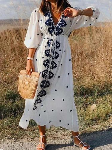 Women Caftan V-Neck Half Sleeves Holiday Dresses