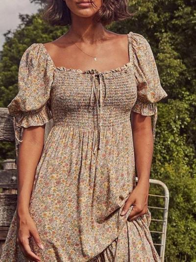 Flower Cotton-Blend Square Neck Vintage Floral Dresses