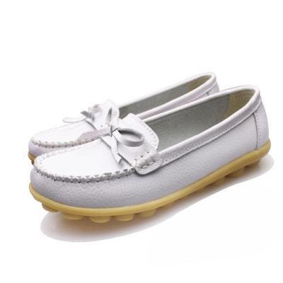 Women PU Flats Casual Slip On Plus Size Shoes