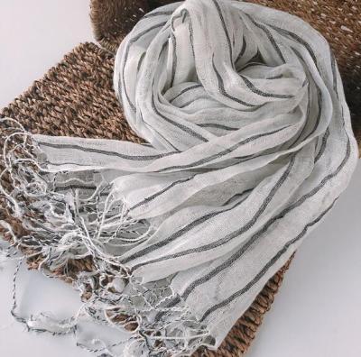 100% Linen Stripe Men/Women Winter Scarf 2019 High Quality Hijab Fashion Foulard Shawls Scarves 60x180cm