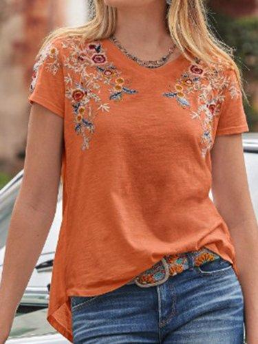 Cotton-Blend Crew Neck Casual Plain Shirts & Tops