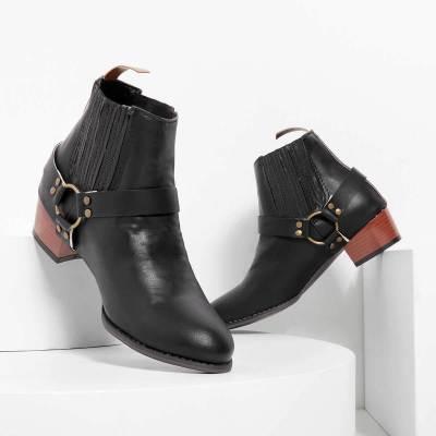 Vintage Slip On Motorcycle Boots Low Heel Buckle Casual Booties