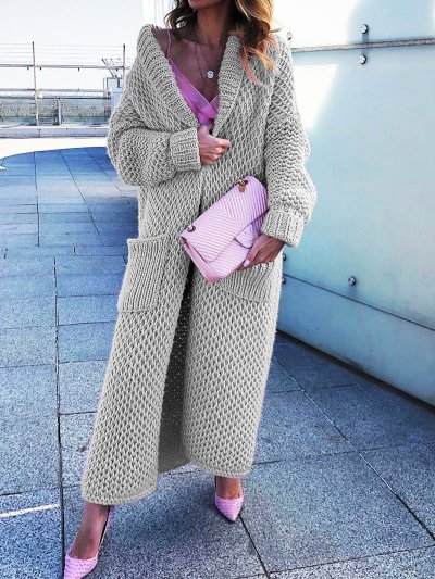 Shawl Collar Long Knitted Plus Size Cardigan Outerwear