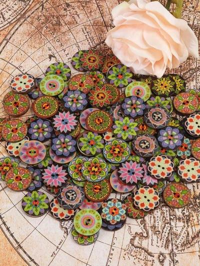 About 100Pcs Multi-Color Printed Round Buttons
