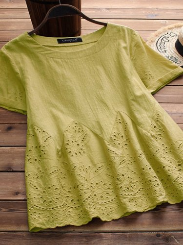 Round Neck Short Sleeve Embroidered Shirts & Tops