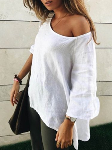 White Casual Round Neck Cotton-Blend Solid Shirts & Tops