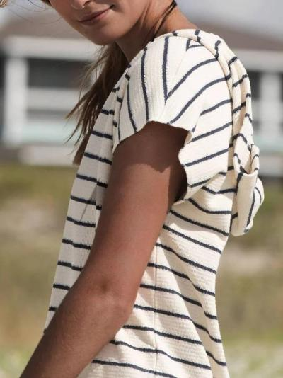 Casual Short Sleeve Striped Hooded Dress